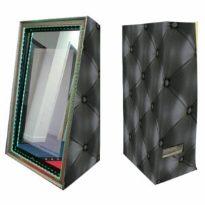 Magic Photo Mirror with Black Chesterfield Skins