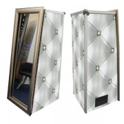 Magic Mirror Booth SE with Grey Chesterfield Skins