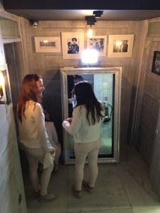 A magic mirror in use at Gino d'Acampo's restaurant in Camden from photobooths.co.uk