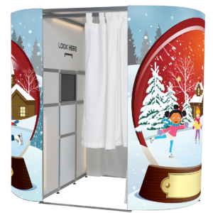 Snow globe Christmas photo booth skin from photobooths.co.uk